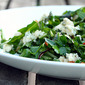 Dandelion Greens with Ramps, Bacon and Blue Cheese