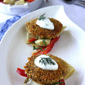 Pan-Fried Bulgur Cakes with Artichoke, Red Pepper & Myzithra Cheese Salad & Dill Yogurt Recipe