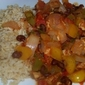Warm and Spicy Creole Chicken and Peppers Over Brown Rice