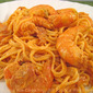 Shrimp in Tomato and Green Garlic Sauce on Angel Hair Pasta; My Hoopoe