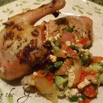 Baked Chicken with Warm Avocado and Feta Salsa
