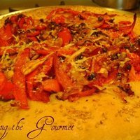Grilled Red Pepper Pizza