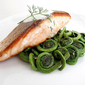 Crispy Pan-Seared Salmon with Sautéed Fiddlehead Ferns and Dill Sauce