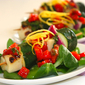 I am in love again – Vegetable and haloumi skewers on mâche salad with fava beans – roasted bell pepper, capers and lemon vinaigrette