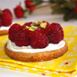 The palet Breton got dressed up – Pistachio palet breton dressed with mascarpone cream, raspberries and raspberry coulis