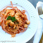 Cranberry Fettuccine Tomato Cream Sauce with Shrimps and Scallops