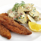 Cornmeal-Crusted Fried Chicken Tenders with Dilled Fingerling Potato Salad