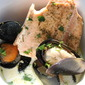 Salmon and Mussels in a white cream broth