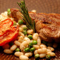 Tuscan White Bean Salad and Grilled Lamb Chops