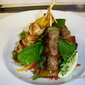 Barbecue beef and chicken brochettes kebab