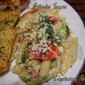 Veggies & Penne in Garlic Alfredo Sauce With Garlic Italian Whole Wheat Bread