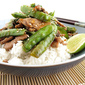Stir-Fried Pork and Sugar Snap Peas with Coconut Rice