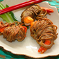 The well dressed shrimps – Shrimps wrapped in soba with pomegranate chili dipping sauce