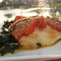 Baked Haddock with Spinach and Bread Crumb Tomatoes