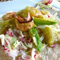 Grilled Lime Shrimp Tacos w/Roasted Tomatillo Salsa