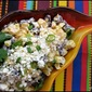 Grilled corn (esquite) with black beans, lime dressing and queso Cotija