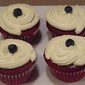 Red, White and Blueberry Cupcakes With Rum Icing