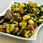 Recipe for Grilled Sausage and Summer Squash with Herbs, Capers, Kalamata Olives, and Lemon