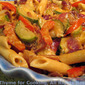 Warm Courgette Pasta Salad / Peanut Ginger Dressing; photos: now and then