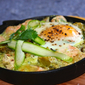 My romantic egg – Oeuf cocotte with salmon, asparagus and a cilantro-coconut pesto