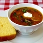 Sausage Chili and Rice Soup with Cornbread Loaf