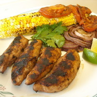 Grilled BBQ chicken tenders with grilled corn!