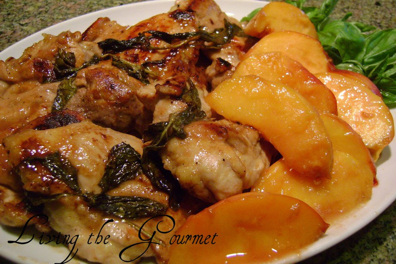 Boneless Chicken Thighs with Peaches & Fresh Basil Recipe by Catherine ...