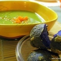Split Pea Soup with Baby Purple Crusted Baked Potatoes