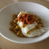 Sea Bass with Garbanzo Beans & Romesco