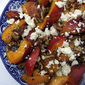 Pan-fried peaches with walnuts and feta