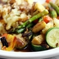 herb & spice roasted vegetables with red wine & mushroom gravy