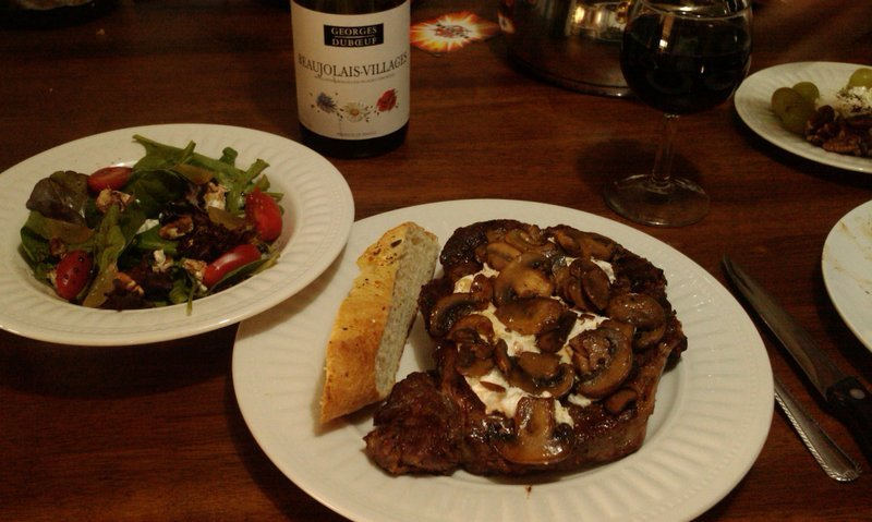 Delmonico steaks with goat cheese and mushrooms Recipe by ...