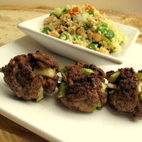 Moroccan Lamb Kabobs with Chickpea and Apricot Couscous