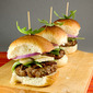 Turkey Sliders with White Cheddar, Red Onion & Arugula