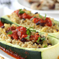 Greek Stuffed Zucchini with Rice, Kalamata Olives & Tomato Sauce Recipe