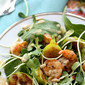Baby Arugula and Sunflower Sprouts Salad with Grilled Shrimp and a Conadria Fig Vinaigrette