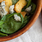 Spinach Salad with Grilled Peaches and Gorgonzola