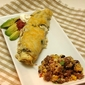 Creamy Chicken and Green Chile Enchiladas with Mexican Sausage Rice