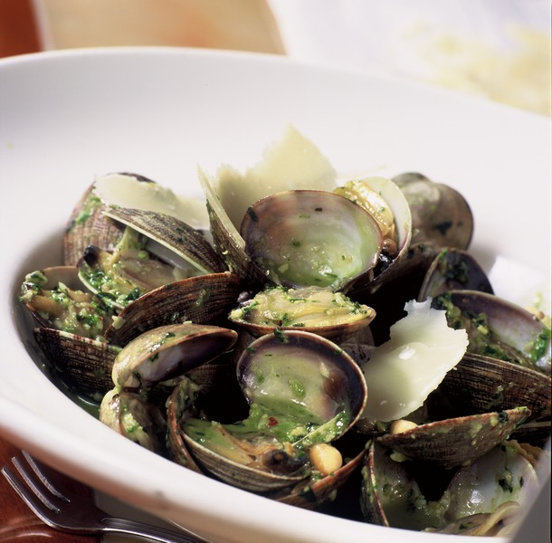 Steamed Clams with Pesto Recipe by John - CookEatShare