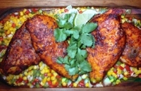 Image of Ancho Chili Rubbed Chicken With Roasted Corn And Sweet Pepper Relish Recipe, Cook Eat Share