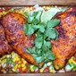 Ancho Chili Rubbed Chicken with Roasted Corn and Sweet Pepper Relish