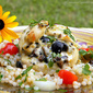 Feta and Olive Chicken Rollatini with Israeli Couscous Salad and Ladolemono