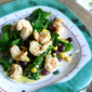 Wilted Spinach Salad with Shrimp, Black beans, and Corn