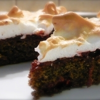 SOUR CHERRY POPPY SEED CAKE WITH MERINGUE TOPPING Recipe