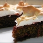 SOUR CHERRY POPPY SEED CAKE WITH MERINGUE TOPPING