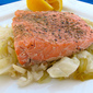 Salmon with Braised Leeks & Cabbage