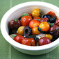 Black olives (Recipe: warm tomato, basil and mozzarella salad)