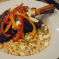Braised lamb shanks with feta and sweet peppers