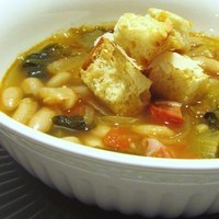 White Bean and Escarole Soup with Chorizo Sausage and Parmigiano Croutons