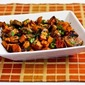 Recipe for Roasted Sweet Potatoes and Mushrooms with Thyme and Parsley